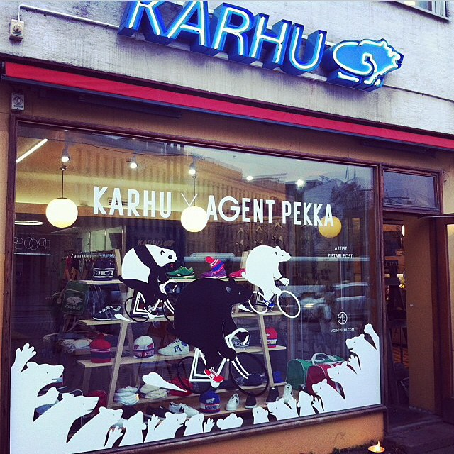 We're collaborating with the papa bear of the Finnish sneaker business, Karhu Originals. The first artwork to invade their store are these three cycling bears by Pietari Posti. Looking good! @pposti @karhuoriginals