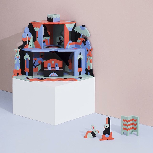 Playtime! NOOKS is a dollhouse collection by @janinerewell featuring seven wooden dollhouse designs entirely made and painted by hand.Photo by @juhohut.