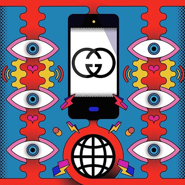New work by @jamiecullenillustrator! In this piece Jamie shows how @Gucci sees the power of smartphones in luxury sales for fashion bible @WWD.
