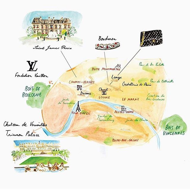 Cassandre Montoriol's luxury map to Paris, just in time for fashion week. @cassandre_m #pfw15