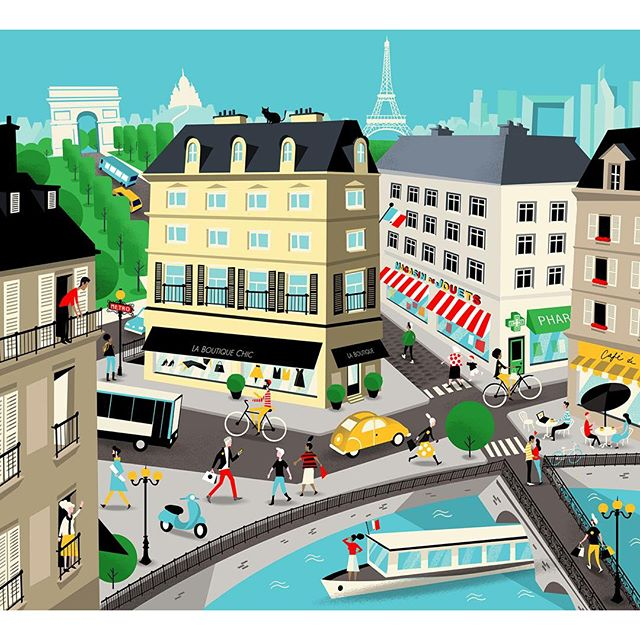 Courier service @urbit1hour takes over Paris, with the help of this charming illustration by @pposti! 🇫🇷