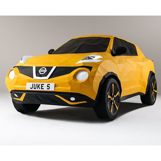 To mark the 5th birthday of the @nissan Juke @owengildersleeve was approached to create a life-size origami inspired paper car, tying in with the company's Japanese roots. The paper model, an exact replica of the Juke, took over 200 hours to build and the paper shell was formed of around 2,000 separate folded polygons. The car was built in collaboration with model maker Thomas Forsyth. #nissanjuke #papercraft