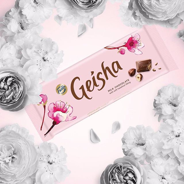 Eili-Kaija Kuusniemi's illustrations adorn Fazer Geisha's new packaging. Cheers to @pentagondesign for the fun collaboration! @eilikaija @fazersuomi #fazergeisha