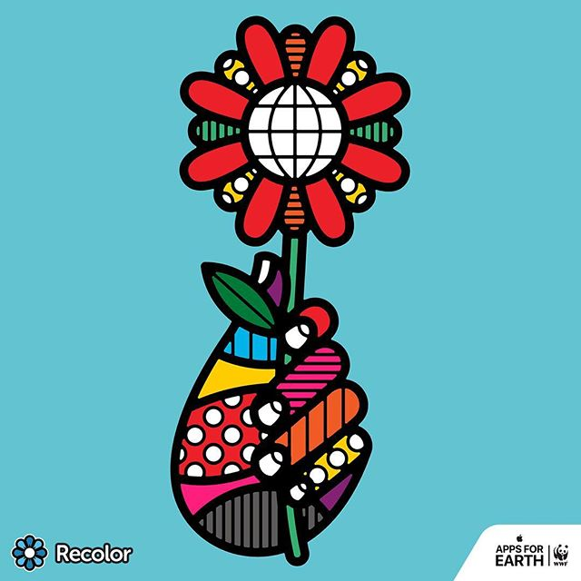 "#Recolor's @wwf Pack Pic of the Day: 'Helping Hand' by @craigandkarl — ""Our inspiration came from seeing the Earth as the centre of a single flower that people want to connect with."" @world_wildlife #AppsforEarth"