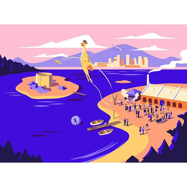 We loved working again with @bakkenbaeck on the illustrations for An Interesting Day, a weird, one-day conference on a tiny island in the Oslofjord. Here's one of the images @owengatley created for the event. #aninterestingday