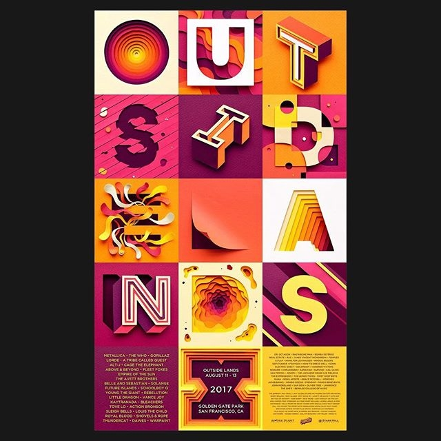 Portfolio refresh! @owengildersleeve's portfolio has just been updated with tons of new work including this ace poster for the 10th edition of @outsidelands festival in San Francisco. Follow the link in our bio to see more of Owen's new work.