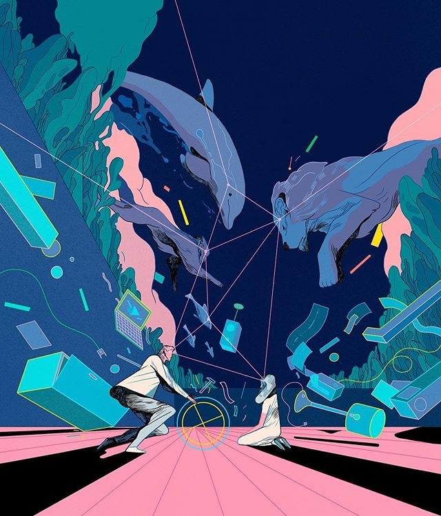 "We're very excited to announce that Copenhagen-based illustrator Rune Fisker (@rfisker) has just joined our team. This illustration is a piece by Rune for @wireduk. @creators_project has this to say about his work: ""Rune Fisker's chaotic illustrations use visual trickery to create truly captivating scenarios."" Follow the link in our bio to see his portfolio."
