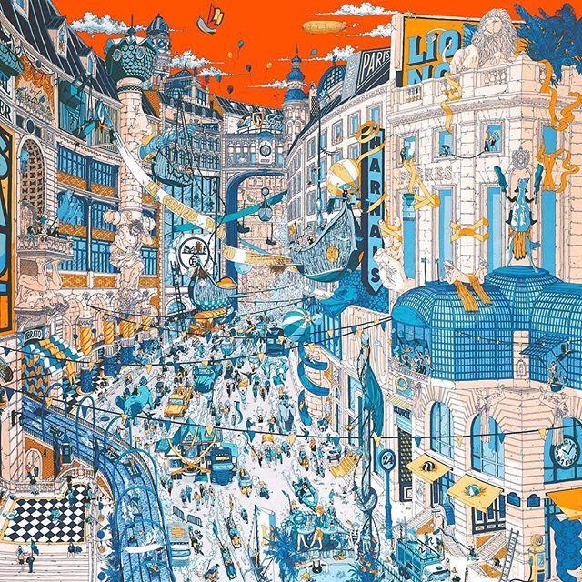 'Le Grand Prix du Faubourg' @ugogattoni for @hermes SS18#scarf #hermes #faubourg #sainthonore #paris #architecture #craft #handdrawn #ugogattoni