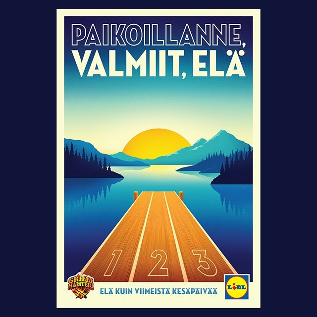 @la_boca_ worked with @folkfinland on a nice set of summer posters for Lidl. These are the first two. #illustration #finnishsummer #laboca #agentpekka
