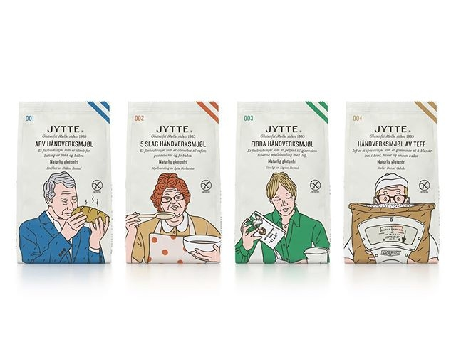 We can't wait to get baking with these! @jeanmicheltixier collaborated with @olssonbarbieri on a set of illustrations for the redesigned packaging of @holmencrisp's gluten-free flour brand, Jytte. Here's a preview of the packaging. These will be available on September 18th across the Nordics. #jeanmicheltixier #agentpekka