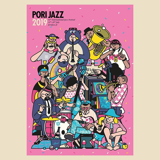 Illustrator Rami Niemi (@raminiemithatillustrator) doing what he does best. This time for Pori Jazz Festival. Here's a poster he illustrated promoting next year's festival. #illustration #agentpekka #raminiemi #porijazz @porijazz