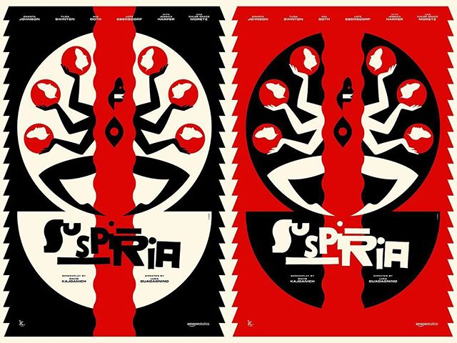 One of our favourite directors (Luca Guadagnino) directs the remake of one of our favourite films (Suspiria) and one of our favourite illustrators (La Boca) designs the official poster for the film. Shown here are both colourways of the brilliant poster. Head over to suspiria.co.uk to purchase your copy. @suspiriamovie @la_boca_ @amazonstudios #agentpekka #laboca #suspiria
