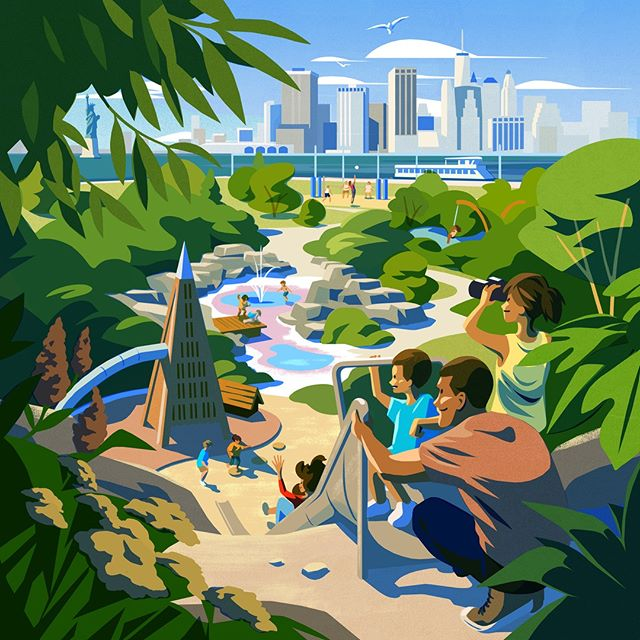 From a series of illustrations by @owengatley for Quay Tower, a new development of waterfront condominium homes in Brooklyn Bridge Park. #quaytower #owengatley #agentpekka #illustration