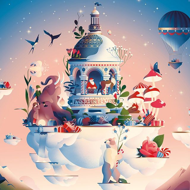 @cruschiform was commissioned to illustrate the magical world of Santa Claus for legendary French department store chain @printempsofficial. #christmas #cruschiform #agentpekka