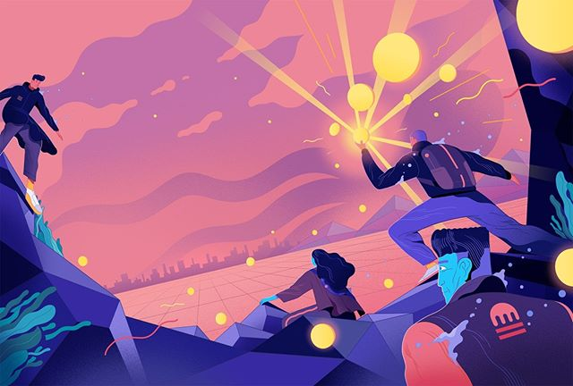 Rune Fisker (@rfisker) created a series of illustrations for the rebranding of Kraken, the world's largest bitcoin exchange. Here's the hero image. Head over to kraken.com to see the rest of the set. #illustration #agentpekka #runefisker #bitcoin #cryptocurrency #kraken