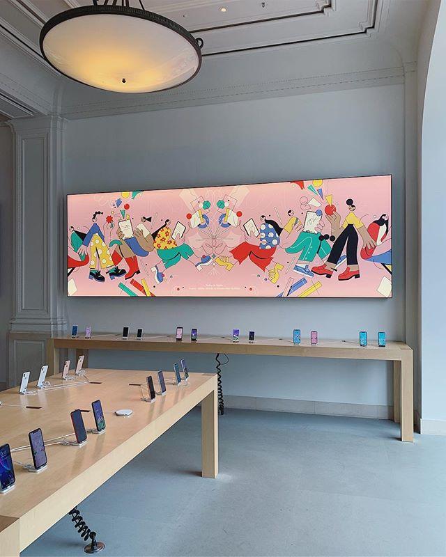 @justynastasik's wonderful artwork at the @apple Store in Amsterdam. #justynastasik #agentpekka