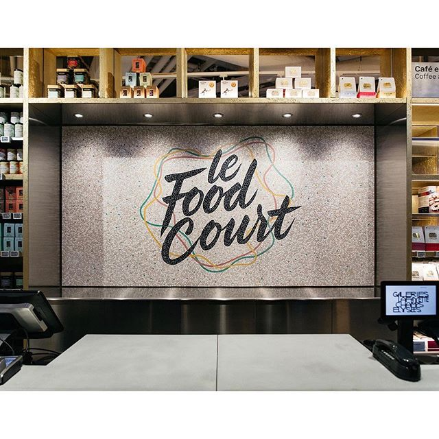 @tyrsamisu worked on the visual identity for Le Food Court and it's 10 individual food stands at Galeries Lafayette's new store at Champs-Élysées in Paris. Here some of our favorites. The beautiful mosaic work is done by @alexandra.carron .