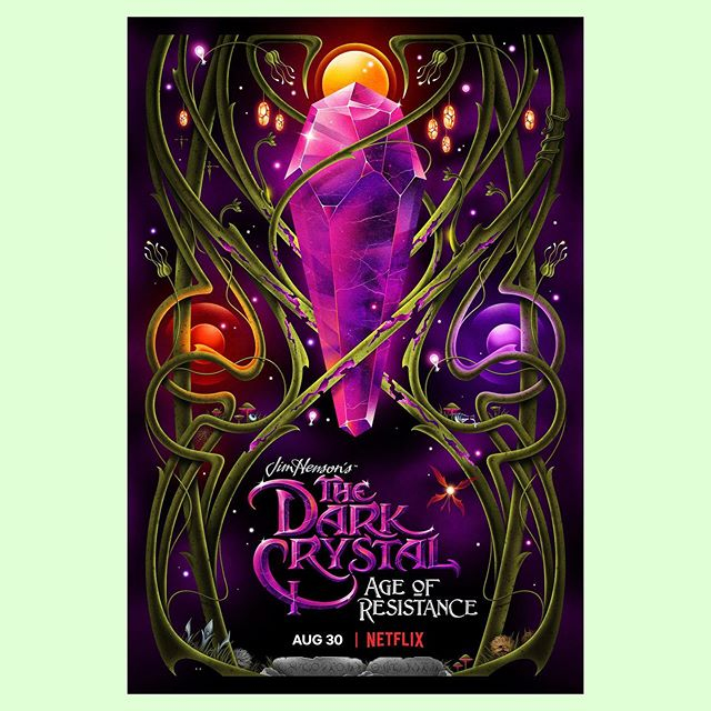 """Many of you sci-fi fans will have rejoiced about the new #DarkCrystal series on @netflix, a spin off from Jim Henson's 1982 film. @la_boca_ were invited to create the poster for the series which, for them, was a very exciting prospect. """"I've been a fan of anything connected to Jim Henson since childhood, so this was one of those dream projects that don't come up very often,"""" says La Boca's Scot Bendall. """"At the time the series was still under production, but we were able to watch some episodes quite early, even before all of the FX had been implemented. It was quite funny still seeing the puppeteers in some shots before they had been edited out. I loved that the show was being created using puppeteers rather than the usual overload of CGI. I also watched the original movie again as reference, and had forgotten just how creepy it was at the time."""" The team designed the poster inspired by the crystal itself, and brought in a rich, art nouveau vibe inspired by the set design. """"I created the texture on the vines by scanning a banana with Adobe Capture on an iPhone. We wanted the poster to have a sort of fantastical feel, but to still be quite graphic. We didn't want to re-create a scene from the show, but to create something that added to the experience, almost like you could imagine the poster on a wall in [the main character] Brea's bedroom.""""⠀⠀#thedarkcrystal #netflix #jimhensoncompany #darkcrystal #laboca #poster #illustration #typography #agentpekka"""