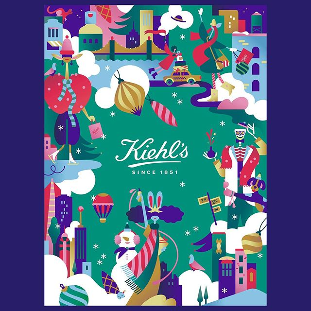 "Here's a little project to get you into the festive spirit. Cosmetics company @kiehls commissioned and worked with @janinerewell to create a special collection of holiday gifts as part of a new product series, sales of which will go towards the brand giving a minimum of $100,000 to a charity called Feeding America. Called upon to make sure these gift sets flew off the shelves and as much money as possible was raised was Janine, who rose to the challenge splendidly. After pitching some character illustrations and ideas for patterns, Kiehl's flew Janine to their New York HQ to show her just how extensive the project would be. ""Working with the Kiehl's in-house art directors and designers, we started developing my illustrations to be used in all of the various mediums and to be coherent with the colours and feel of the Kiehl's brand,"" says Janine. ""The main visuals include patterns, classic New York city characters, posters, tote bags, product design, packaging design, advent calendars… The Kiehl's team used these to create animations and store around the world."" Janine's pretty chuffed about this commission. ""My first clear memory of Kiehl's was when I saw the Christmas packaging that @craigandkarl had designed for the brand's Christmas campaign,"" she recalls. ""I remember admiring it and wishing that I would get this kind of brand collaboration one day."" #kiehls #janinerewell #agentpekka #illustration #collaboration #holidays #christmas"