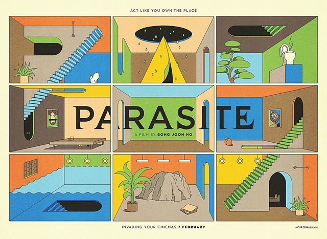La Boca's portfolio has just been updated with a bunch of new work, including this poster for the UK theatrical release of Boon Joon Ho's brilliant film, Parasite. Link in bio. 🍑 @la_boca_ @parasitemovie #parasite #laboca #agentpekka #illustration